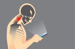 Nakkesmerter ved mobilbruk skjelettillustrasjon